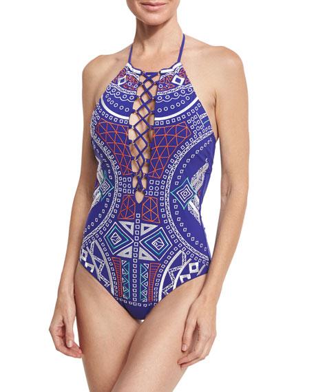 Trina Turk Jakarta Embroidered One-Piece Swimsuit, Blue
