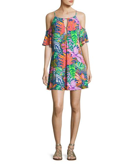 Trina Turk Tropic Escape Cold-Shoulder Tunic, Multicolor