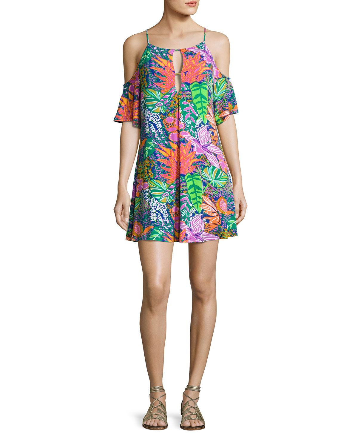 5200b6752675 Trina Turk Tropic Escape Cold-Shoulder Tunic, Multicolor | Neiman Marcus