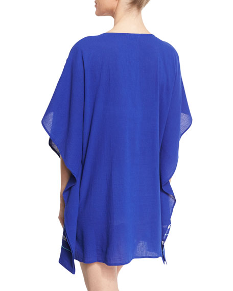 Jakarta Embroidered Caftan Coverup, Blue