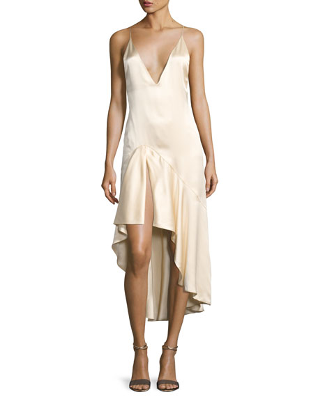 Silk Satin High-Low Slip Dress, Beige