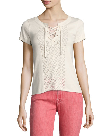 FRAME Pointelle Lace-Up Tee, Off White