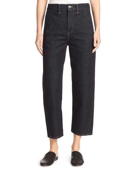 Vince High-Rise Utility Cropped Denim Jeans, Resin Rinse Wash