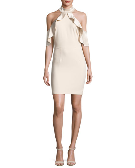 Alice + Olivia Ebony Cold-Shoulder Cocktail Dress, Champagne