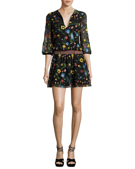 Alice + Olivia Jolene Split-Neck Smocked-Waist Mini Dress,