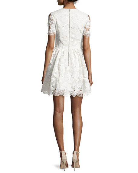 Karen Floral Lace Party Dress, Off White