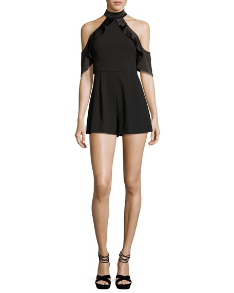 Alice + Olivia Roseline Cold-Shoulder Satin-Ruffle Romper, Black