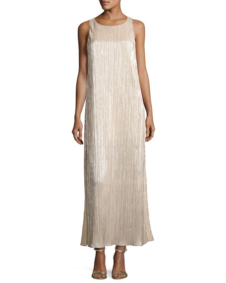 Lucia High-Slit Metallic Plissé Maxi Tank Dress, Gold