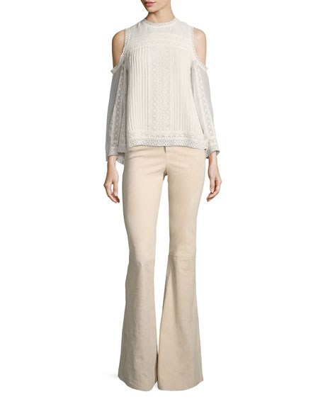 Alice   Olivia Ophelia Eyelet Lace Cold-Shoulder Blouse, Off White