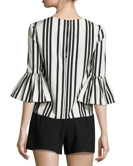 Bernice Striped Ruffle-Sleeve Top, Black/White