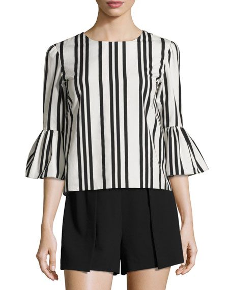 Alice + Olivia Bernice Striped Ruffle-Sleeve Top, Black/White