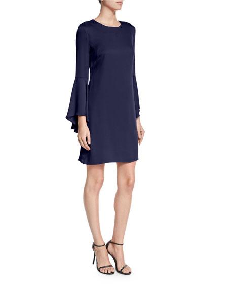 Milly Italian Cady Bell-Sleeve Dress, Navy