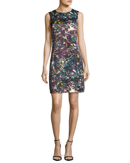 M Missoni Sleeveless Abstract Floral-Print Sheath Dress
