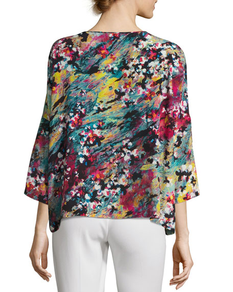 3/4-Sleeve Abstract Floral-Print Silk Top, Multi Pattern