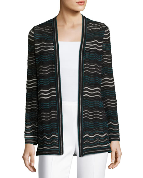 M Missoni Dotted Ripple-Stitch Open Cardigan