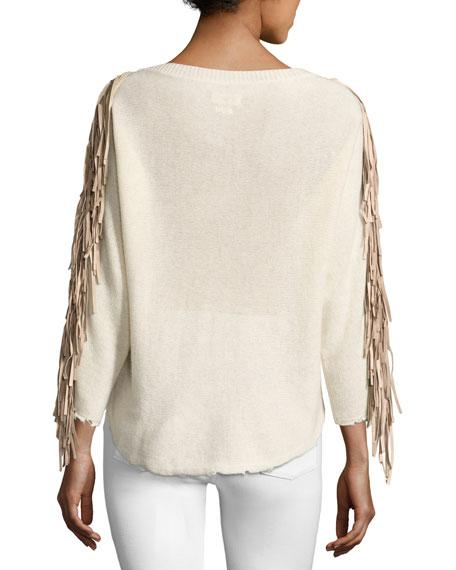 Banko Fringe Cashmere Sweater, Ecru