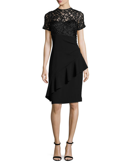 Rickie Freeman for Teri Jon Short-Sleeve Beaded Lace