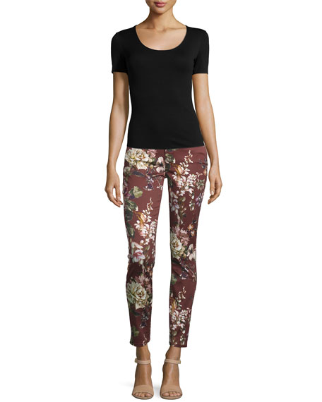 Nottingham Floral-Print Skinny Jeans, Red Multi
