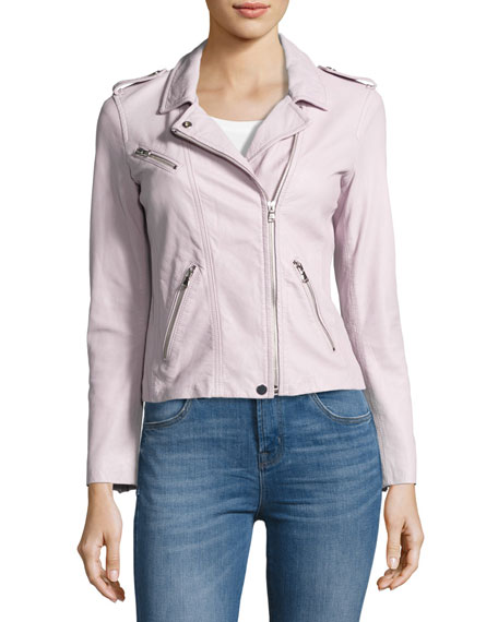 Washed Lamb Leather Moto Jacket, Lavender