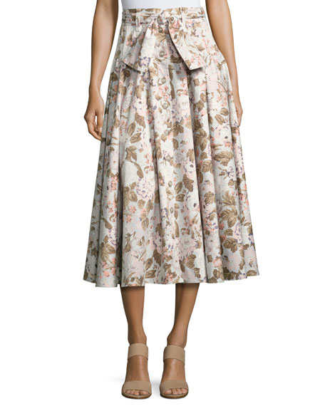 Penelope Belted Floral Button Midi Skirt, Multicolor
