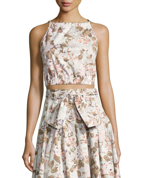 Rebecca Taylor Penelope Floral Sleeveless Crop Top, Multicolor