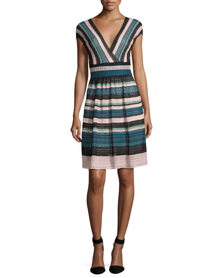 M Missoni Cap-Sleeve Lace Ribbon Knit A-Line Dress