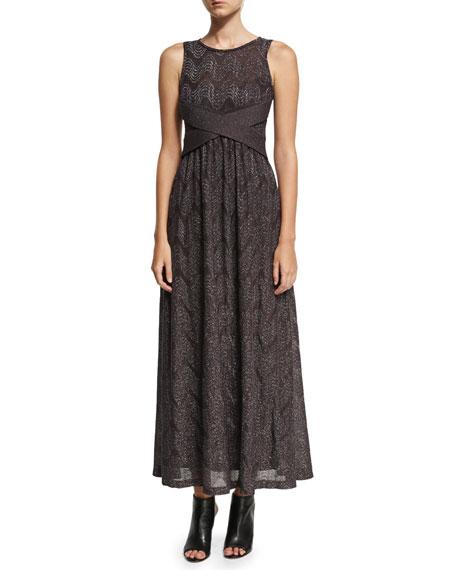 Sleeveless Lurex® Jersey Maxi Dress