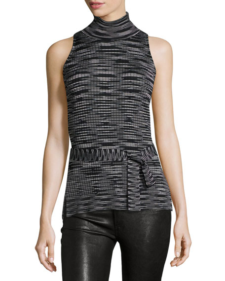 M Missoni Space-Dye Sleeveless Mock-Neck Top