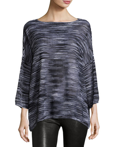 M Missoni 3/4-Sleeve Bateau-Neck Space-Dye Pullover Top
