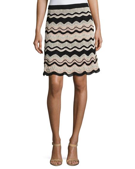M Missoni Rippled Ribbon Knit Skirt