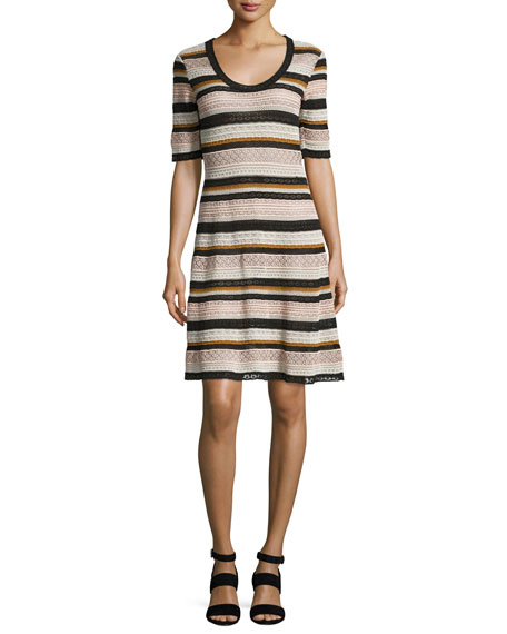 M Missoni Half-Sleeve Lace Ribbon Fit-&-Flare Dress