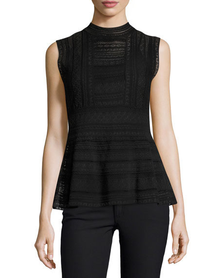 M MISSONI Sleeveless Mock-Neck Peplum Top, Black