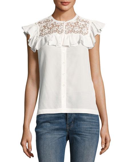 Lace-Trim Cap-Sleeve Crepe Top, White