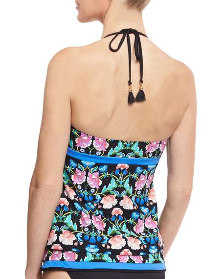 Damask Floral-Print Honey Tankini Swim Top, Multicolor