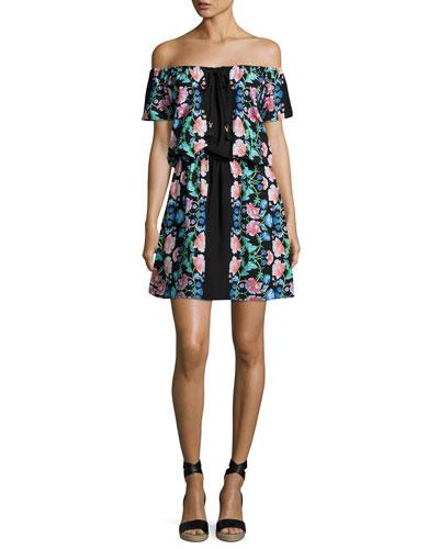 Damask Floral Off-the-Shoulder Dress, Black Multicolor