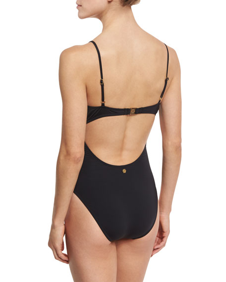 Origami Pleats Goddess One-Piece Swimsuit, Black