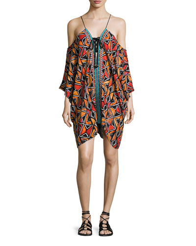 Mozambique Cold-Shoulder Lace-Up Caftan, Multicolor