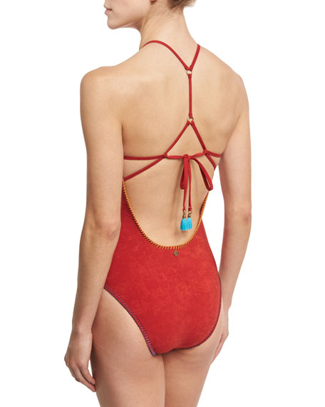 Serengeti Seductress Sueded One-Piece Swimsuit, Red