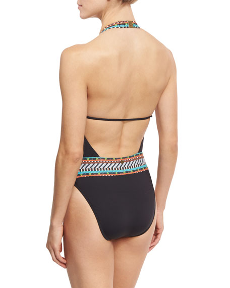 Tribal Beat Goddess One-Piece Swimsuit, Black
