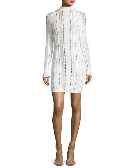 Long Sleeve Pointelle Textured Mini Dress Antique White