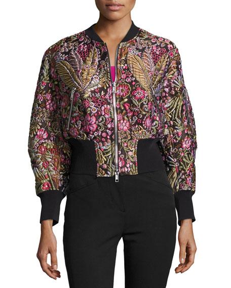 Floral Jacquard Cloqué Bomber Jacket, Multicolor