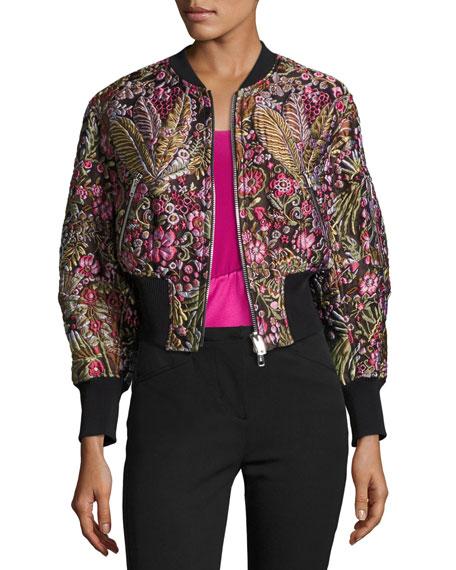 3.1 Phillip Lim Floral Jacquard Cloqué Bomber Jacket,