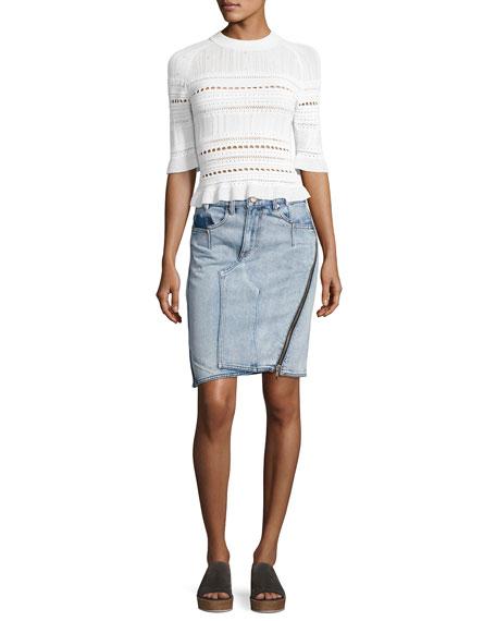 Asymmetrical Denim Pencil Skirt W/ Zipper, Indigo