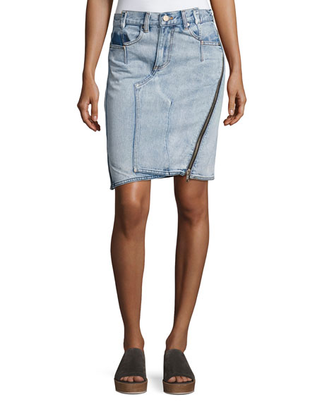 3.1 Phillip Lim Asymmetrical Denim Pencil Skirt W/