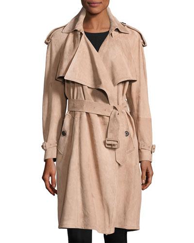 Sanbridge Suede Wrap Trench Coat