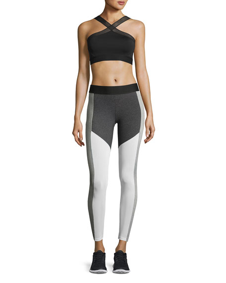 Racing Colorblock Performance Leggings, Chalk/Charcoal/White