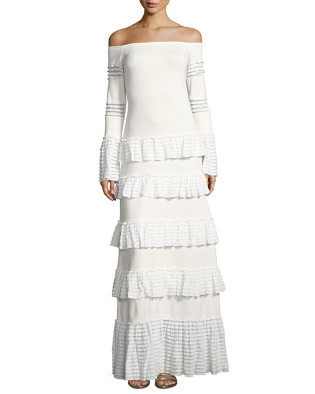 Alexis Sylar Off-the-Shoulder Tiered Knit Maxi Dress, White