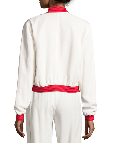 Trei Athletic-Stripe Bomber Jacket, White