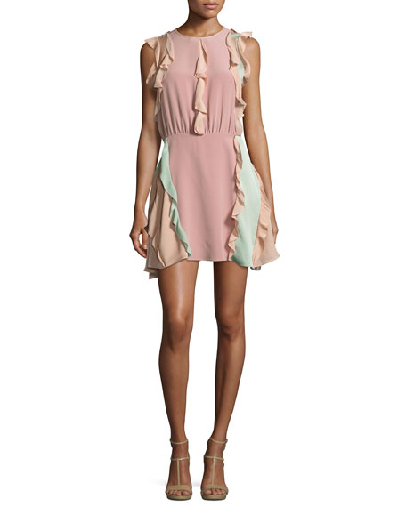Alexis Keely Colorblock Ruffle Mini Dress, Pink