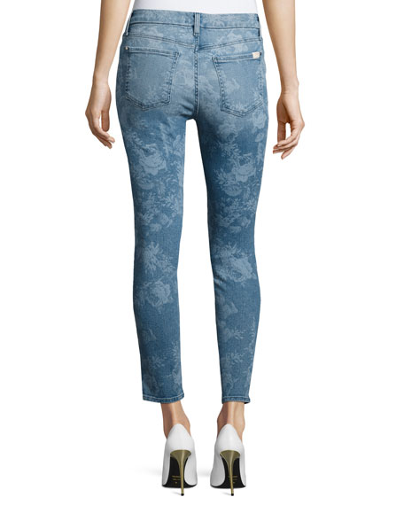 Lasered Rose-Print Skinny Ankle Jeans
